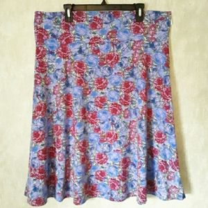 LulaRoe Azure purple and red floral print skirt 3X
